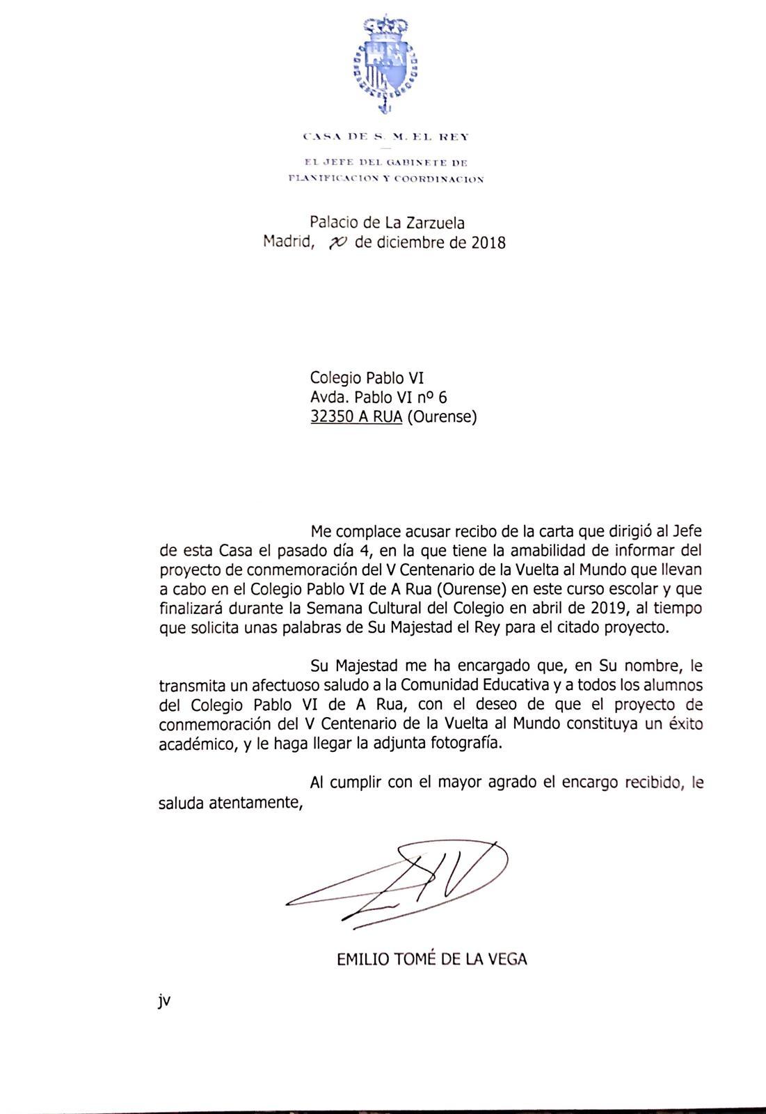 El Rey desea éxito por carta al  colegio Pablo VI en su proyecto sobre el V Centenario de la Vuelta al Mundo